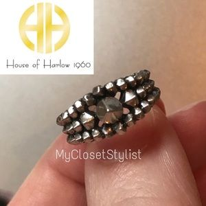 House of Harlow Studded MIDI Silver Rocker Ring! 3